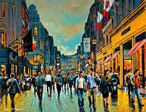 A painting of the ever busy Grafton Street featuring the Brown Thomas store with people going about their daily business in Dublin's city centre.