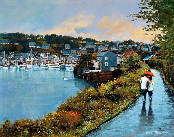 A painting of a couple walking on Scilly Walk, Kinsale, Co Cork