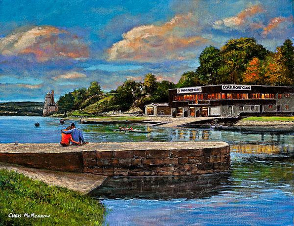 A painting of Cork Boat Club and Blackrock Castle, Cork.