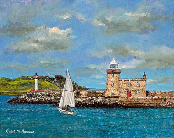 A painting of Howth Harbour and Lighthouse, County Dublin