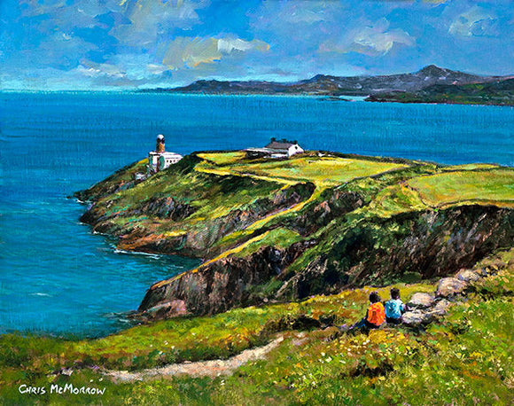 A painting of a sea view over the Baily Lighthouse, Howth, Dublin