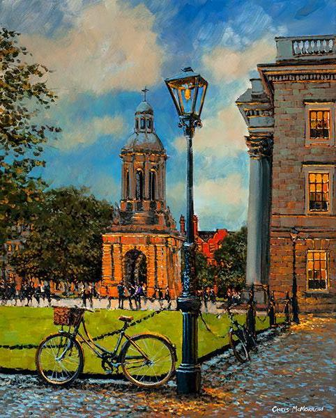 Painting of an old style bicycle parked under a streetlamp in the grounds of Trinity College, Dublin