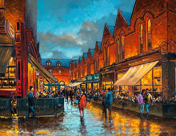 A vibrant painting of reflections on the street from Grogans pub and cafes in Castlemarket, Dublin