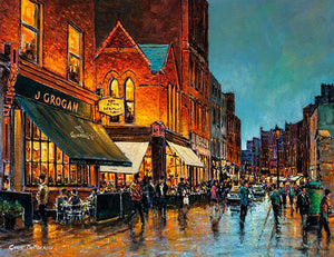 A painting with a view of South William Street, Dublin, featuring Grogan's Pub and the Gourmet Burger restaurant.