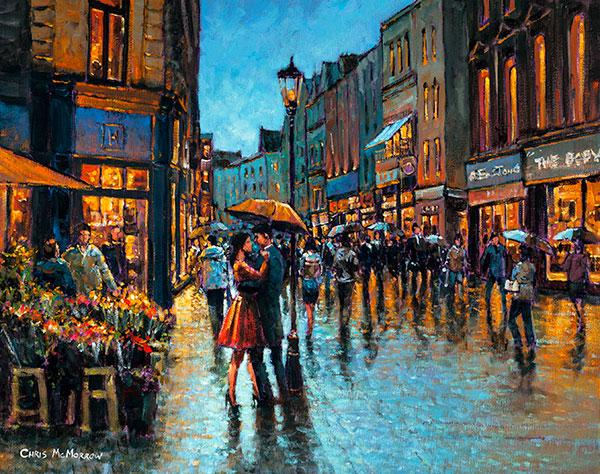 Painting Print Of Couple With An Umbrella Dancing On
