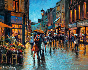 Painting centering on a young romantic couple in a dancing embrace on Grafton Street, Dublin