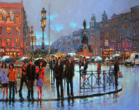 A painting of Dublin city in the early evening