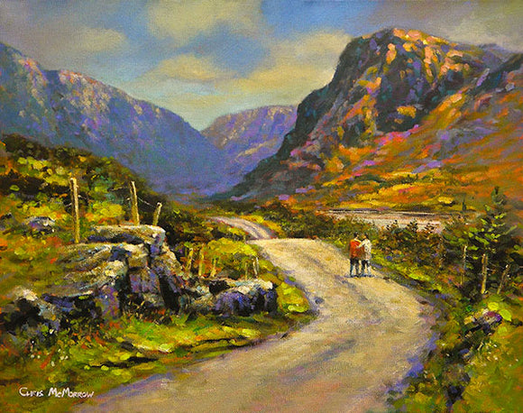 A painting of a couple strolling through the Gap of Dunloe