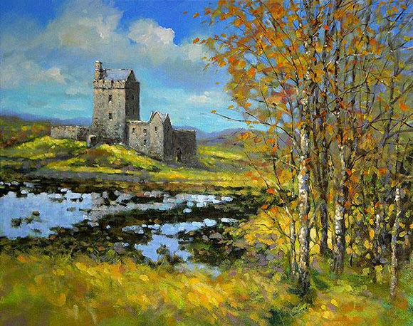 A painting of the castle at Dun Guaire, west of Ireland