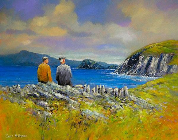 A painting of a father and son sitting on a wall in the West of Ireland