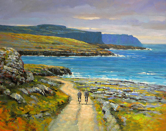 A landscape painting of two men as they cycle towards the cliffs of Moher