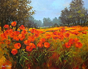 A landscape painting of a poppyfield