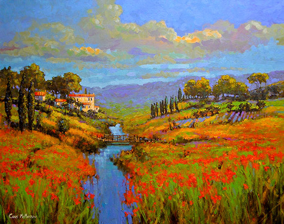 A painting of a dreamscape in Tuscany , Italy