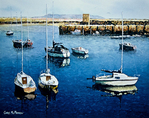 A painting of sailboats in Dun Laoghaire harbour