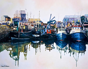 A painting of trawlers resting at Howth Harbour