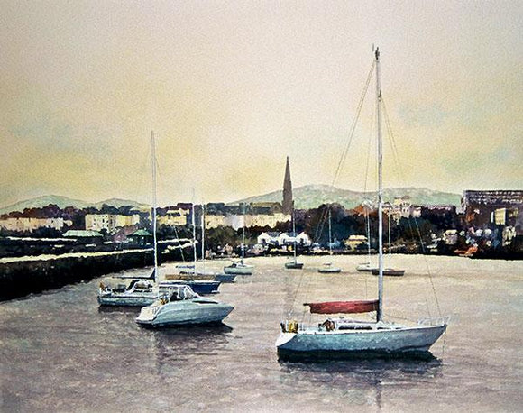A painting of sailboats at rest in Dun Laoghaire harbour