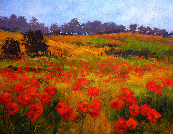 Painting of a meadow of red poppies