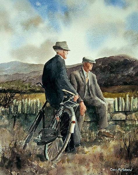 A casual conversation between two men on the roadside, Connemara, Ireland