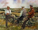 Three men take a break from repairing an old stone wall in Connemara, Ireland.