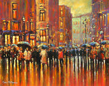 A vibrant impressionistic painting, painted with a palette of mainly oranges and reds, of a throng of people milling about under umbrellas on Dublin's Grafton Street.