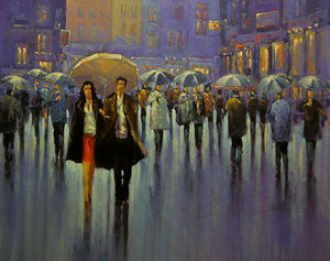 A painting of a couple under an umbrella out for the night in town