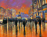 A painting of the evening glow on O'Connell Street
