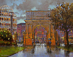 A painting of people walking in the evening at Stephens Green arch