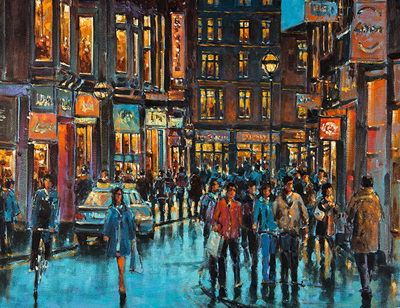 Painting of Wicklow Street, Dublin city looking towards Grafton Street