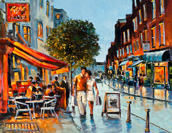 A painting of a couple walking along on South William Street, Dublin