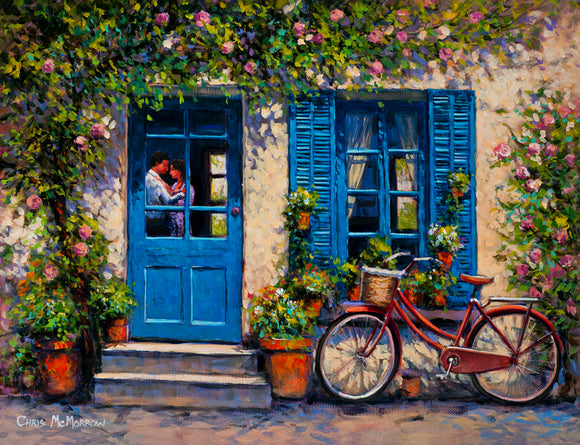 A painting of a house with blue shutters and a couple embracing seen through the window of the door. A red bicycle is parked outside.