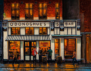 A painting of O'Donoghues Bar on Suffolk Street, Dublin City Centre