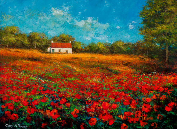A painting of a cottage in a red poppyfield