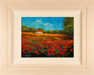 Acrylic painting on 31 x 24 inch canvas of an Irish cottage in a poppyfield in the West of Ireland