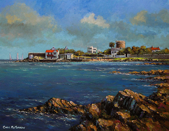 Painting of the sea and rocks at Sandycove, Co Dublin