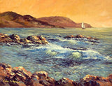 A painting of a sailboat in the early morning light