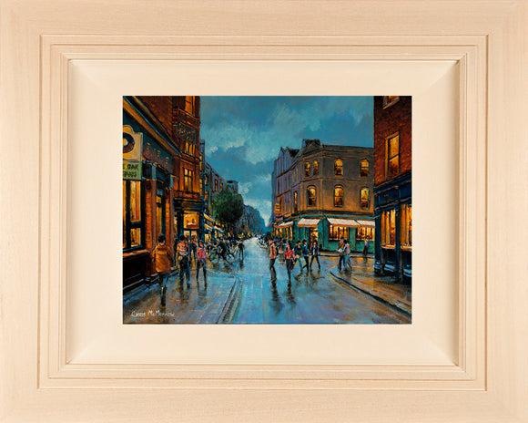 Original acrylic painting of the busy crossroads on South William Street, Dublin