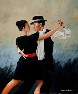 A painting of two dancers dancing the Tango