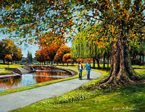 A painting of a couple in Tolka Park, Drumcondra, Dublin