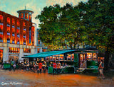 Painting of the Tram Cafe, Jervis Street, Dublin which was once a working tram