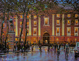 A colourful painting of Trinity and College Green in purple and oranges