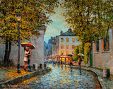 A painting of a young couple kissing under a streetlamp by the cobbled streets of Montmartre, Paris.