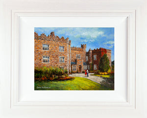 Original painting of a young couple outside Waterford Castle Hotel