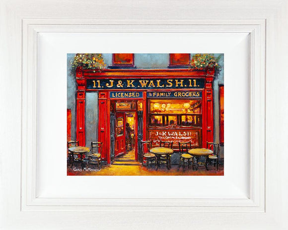 J&K Walsh Pub, Waterford (ORIGINAL 12x10 Canvas)  -   769 - Chris McMorrow Artist - Paintings and Prints