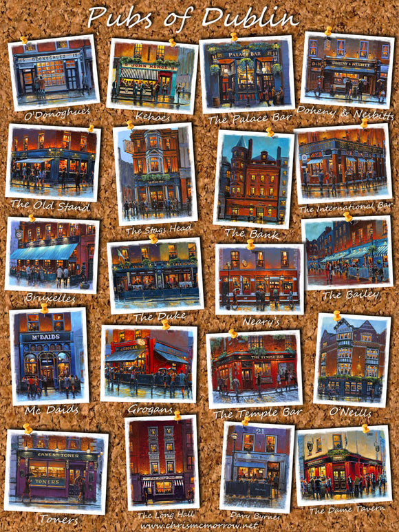 A poster showing a selection of paintings of Dublin pubs on corkboard