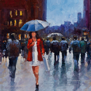A vivid acrylic painting of a girl in a red jacket and blue umbrella out shopping in town.