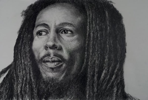 Pencil portrait of reggae musician Bob Marley