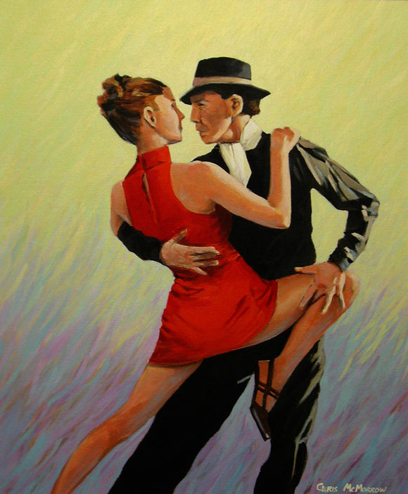A painting of a couple in a close embrace dancing the Tango