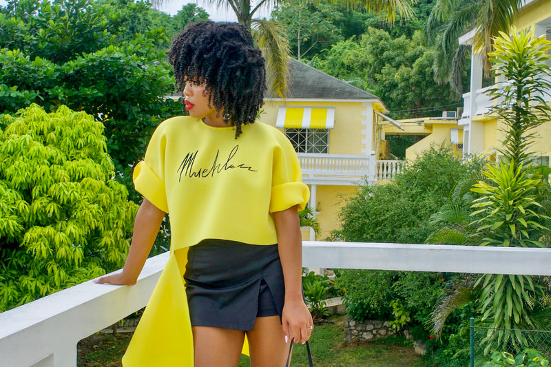 #MueMuse: Natasha Leeds Gives Us Vaca Feels in the Yellow Slashed Sweatshirt