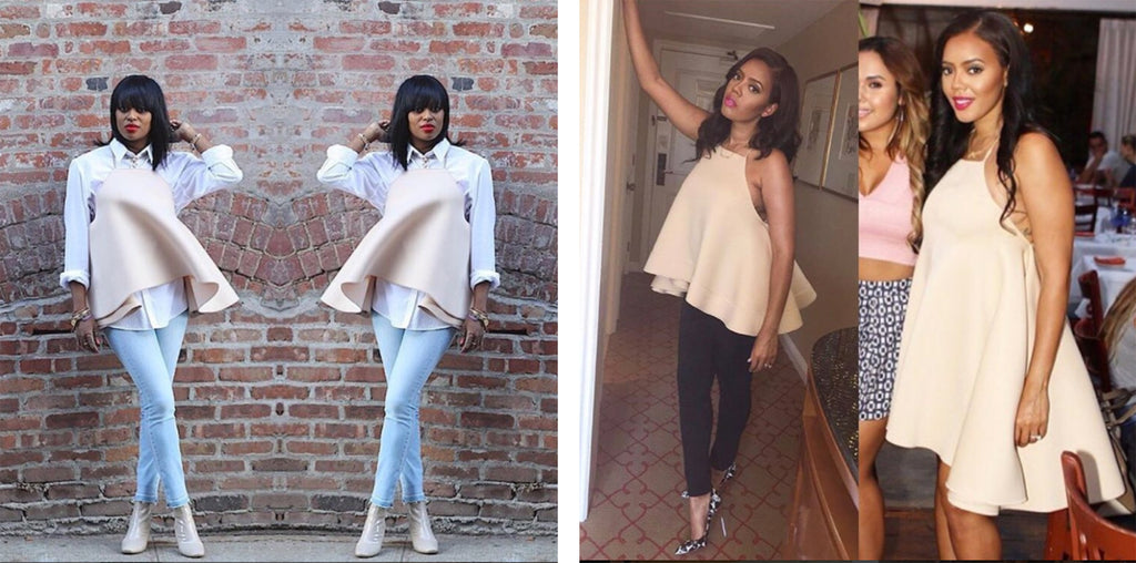 Catherine Cross-Back Flare Top worn by fashionablynotpressed and Angela Simmons
