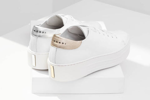 Baumondi white sneakers, italian leather